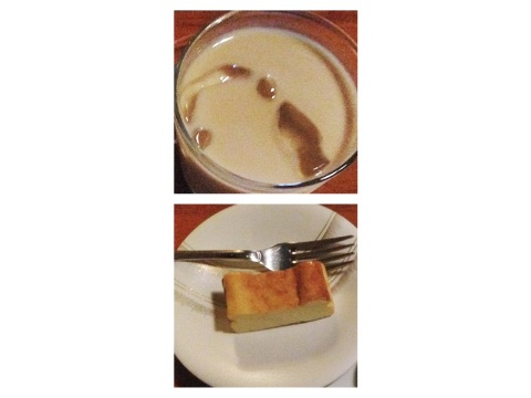 チーズケーキとカフェオレ